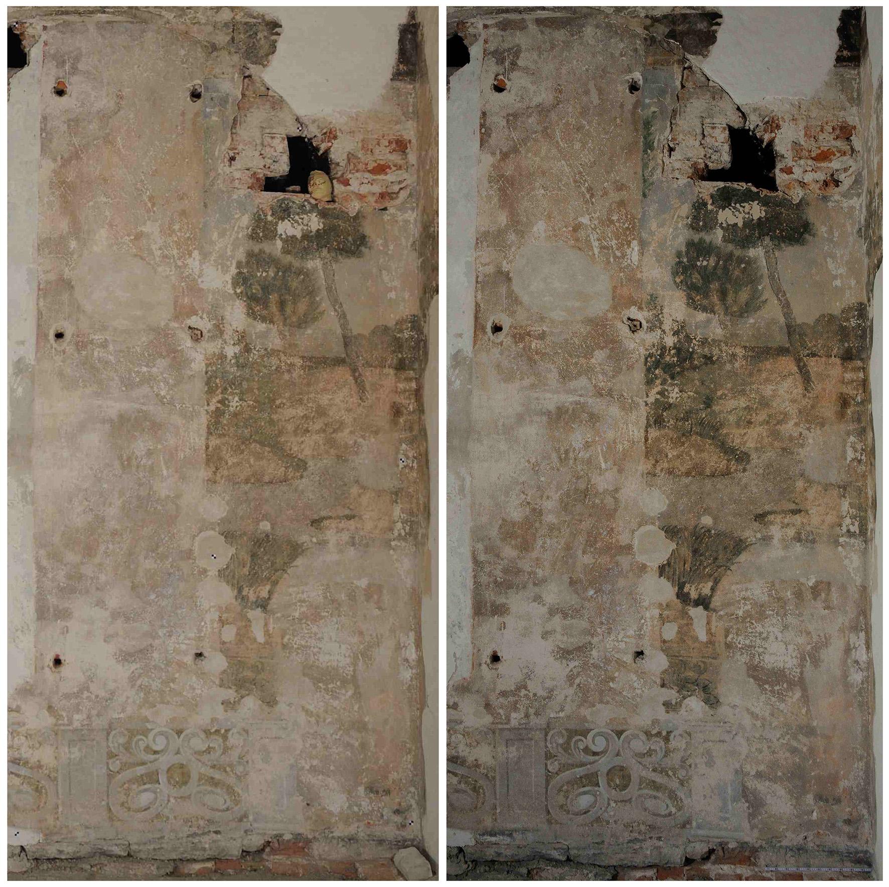 Foto Christine Pieper südliches Frauengemach, Sicherung der Wandmalerei um 1700, Vor- und Nachzustand