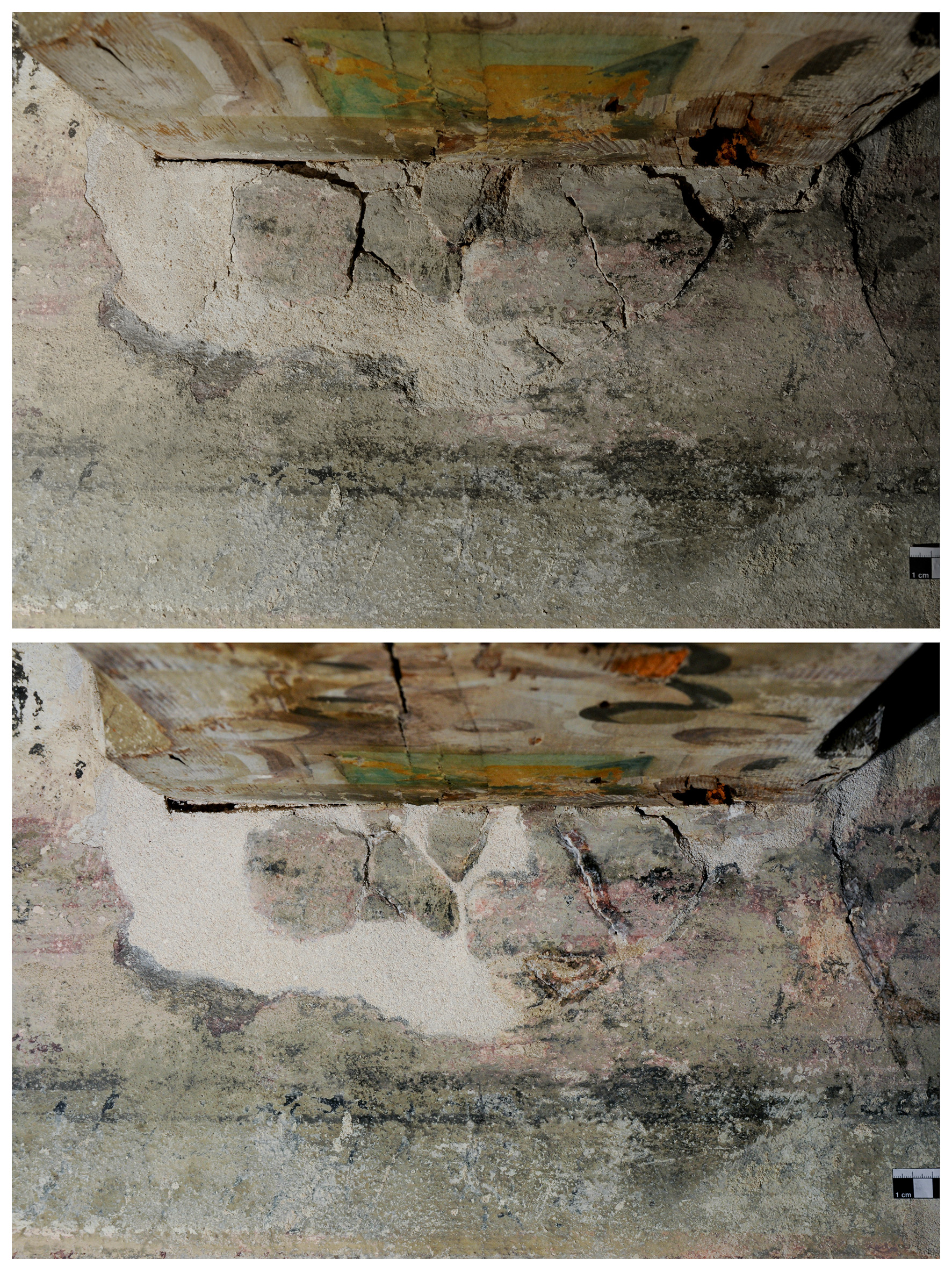 Foto Christine Pieper südliches Frauengemach, Wandmalerei am Anschluss der Deckenbalken, Sicherung des Putzes und der Wandmalerei, Vor- und Nachzustand