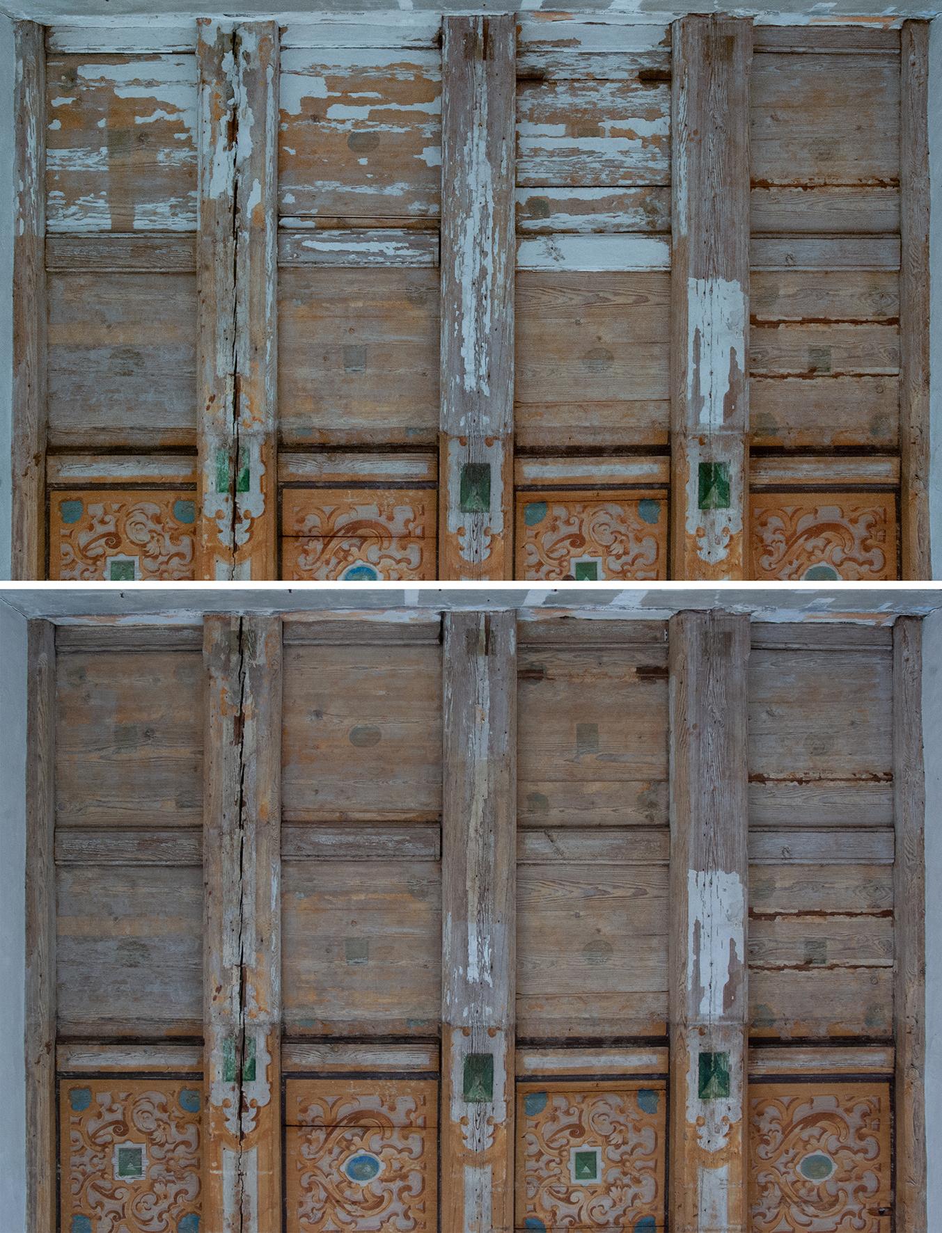 Foto Tino Simon mittleres Frauengemach, Deckenmalerei im östlichen Teil des Raumes, Vor- und Nachzustand