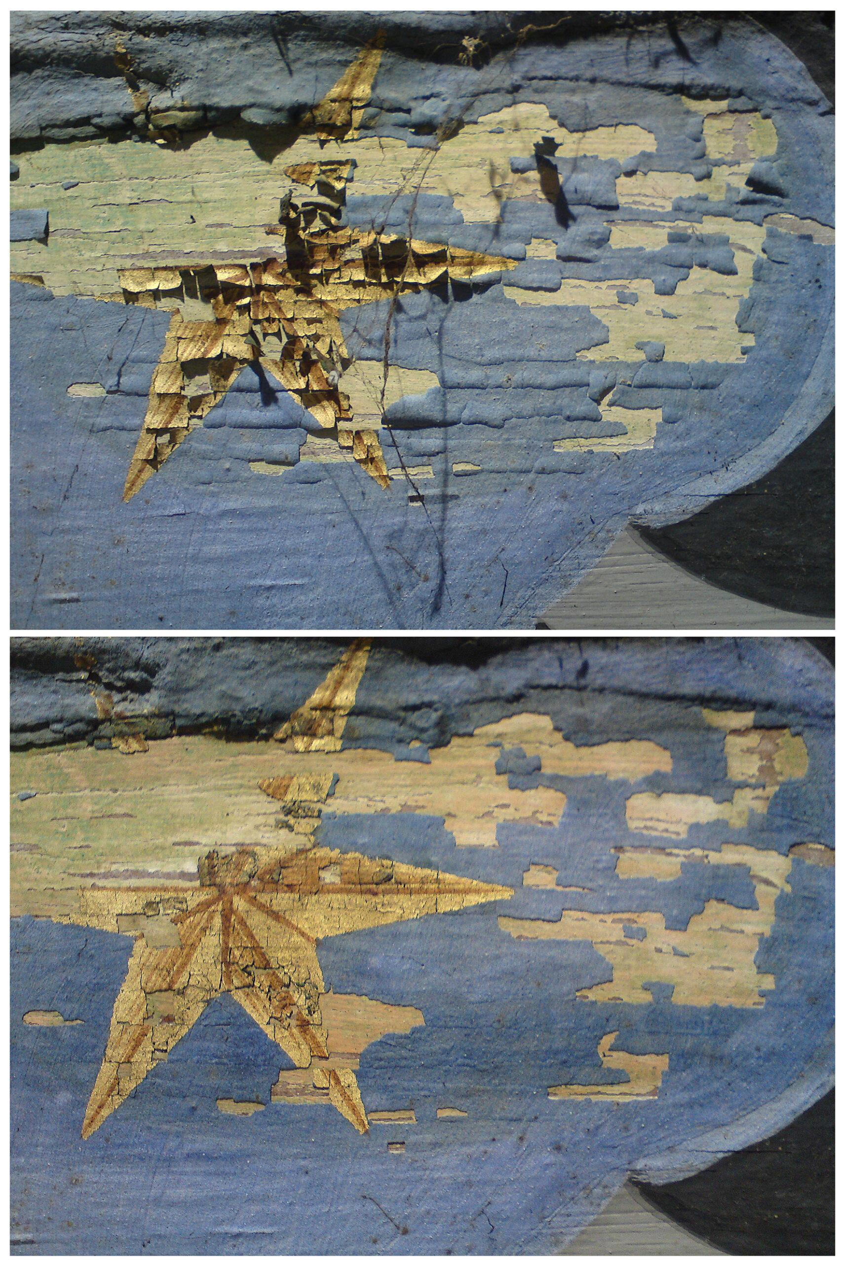 Foto Tino Simon südliches Frauengemach, Sicherung der Deckenmalerei (M.17.Jh.), Vor- und Nachzustand