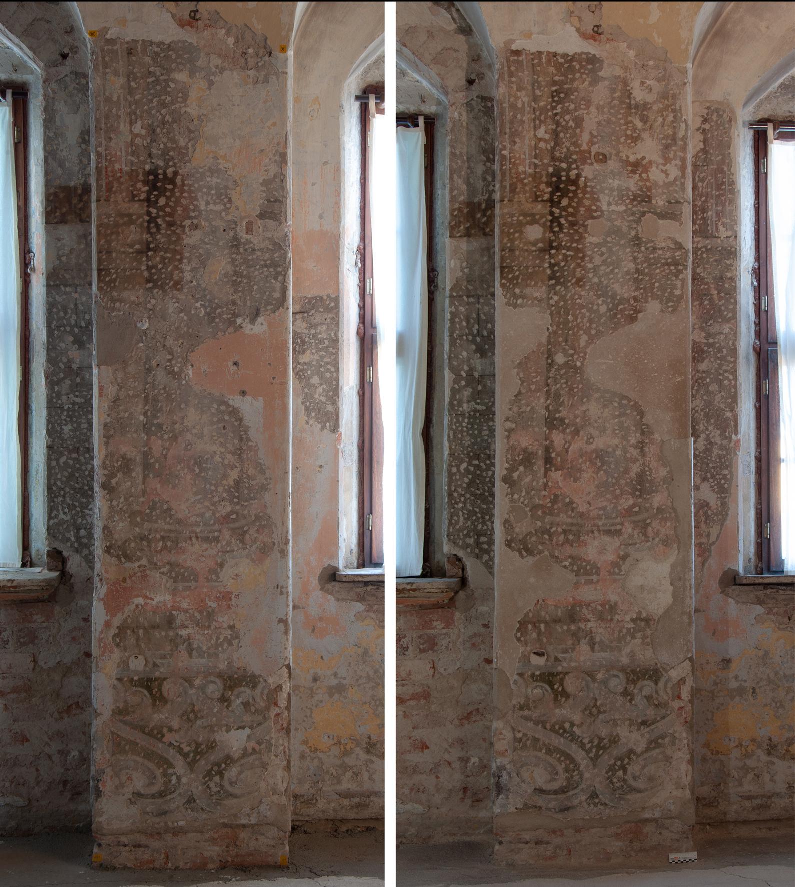 Foto Tino Simon südliches Frauengemach, Wandmalerei am Fensterpfeiler, Vor- und Nachzustand