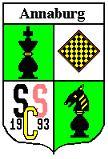 Logo SSC Annaburg Schachfiguren auf weißem und grünen Grund