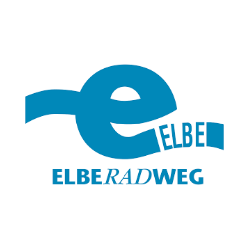 Logo des Elbe Radweg. Ein kleines blaues E mit integrierten Wort ELBE