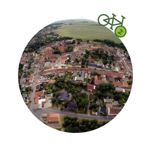 Punkt2 am Zweistromweg Luftbild von der historischen Altstadt Prettin