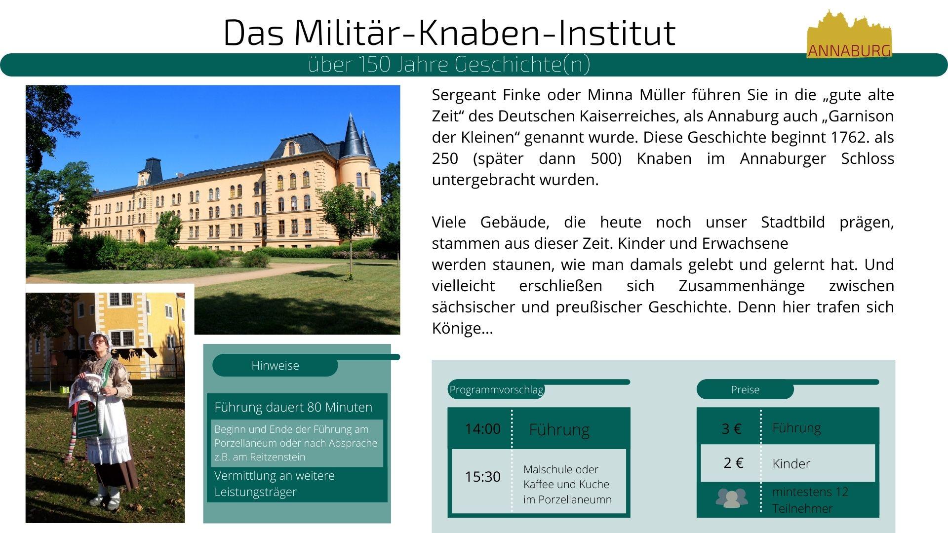 Angaben zur Führung: Das Militär-Knaben-Institut
