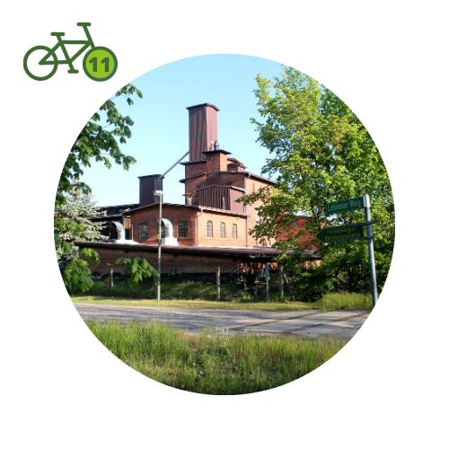 Punkt11 am Zweistromweg Die Samendare von Annaburg, ein Backstein Industrie Gebäude aus dem 19. Jh.